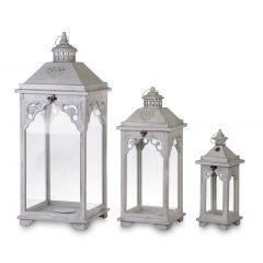 Lampion Drewniany Biały Komplet 3szt 132666 Art-Pol