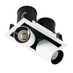 Lampa podwójne oczko wpuszczane LED Mercanta Double Italux GL7117-2/12W 4000K WH+BL