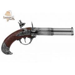 Trzylufowy pistolet skałkowy Francja XVIII wiek Denix 1306 - replika