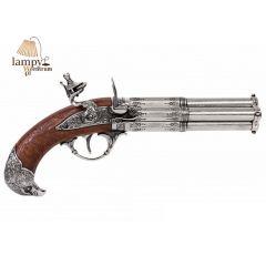 Czterolufowy pistolet skałkowy Francja XVIII wiek Denix 1307 - replika