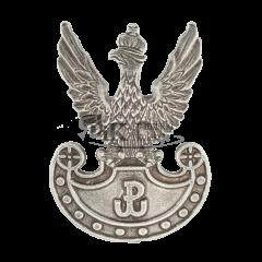 Przypinka Orzeł wojskowy wz. 19 z symbolem Polski Walczącej na tarczy Amazonek - PINS