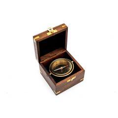 Mosiężna busola Gimble w pudełku z palisandru COM-0401 Gift Shop