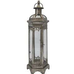 Lampion Metalowy Srebrny 64913 Art-Pol