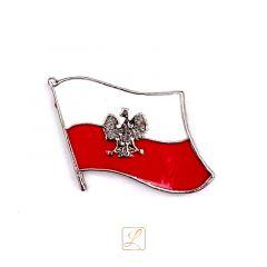 Przypinka miniatura polskiej flagi z orłem na jej tle - PINS