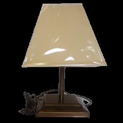 Lampa stołowa 1 płomienna patyna abażur trapez Lamptechnik