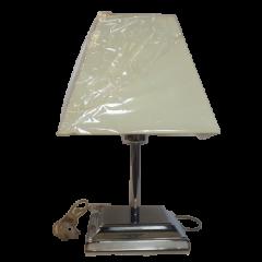 Lampa stołowa 1 płomienna chrom abażur trapez Lamptechnik