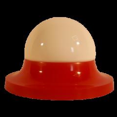 Lampa plafon 1 płomienny klosz biały obręcz czerwona Elplast