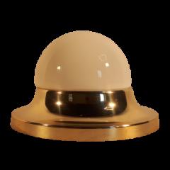 Lampa plafon 1 płomienny klosz biały obręcz złota Elplast