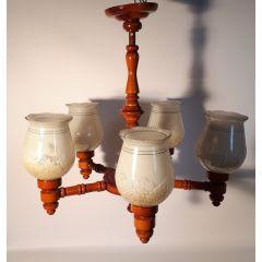 Lampa wisząca 5 płomienna drewno czereśnia szkło białe E27 Kowanówko
