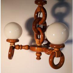 Lampa wisząca 3 płomienna drewno klosz kula E14 Kowanówko