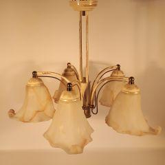 Lampa 5 płomienna Cremona beżowa klosz murano brązowy E27 Starex