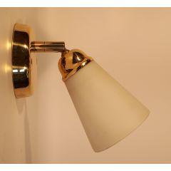 Kinkiet 1 płomienny regulowany złoty klosz stożek biały  E14 Messing