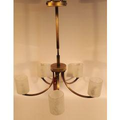 Lampa wisząca 5 płomienna Marianna patyna klosz mrożony E14 Lis Lighting