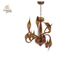 Lampa żyrandol 12 płomienny DECORI 12 brązowy transparentny Sinus MD8017/12