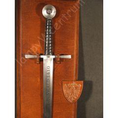 Miecz grunwaldzki 1410r. na derwnianym tablo - rękodzieło - replika