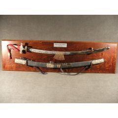 Karabela szlachecka z pochwą Ormianka XVIIIw. na wiszącym tablo głownia trawiona, chrom - replika
