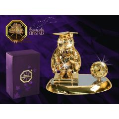 Zegar z figurką sowy profesora z kryształami Swarovskiego 122-0176