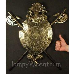 Wielki Herb z dwoma halabardami Mosiądz - replika