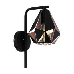CARLTON 4 Lampa kinkiet 1 płom. czarna/miedziana EGLO 43057