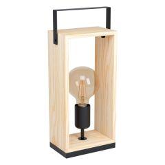 Famborough Lampa stołowa 1 płom. czarna/drewno naturalne EGLO 43415