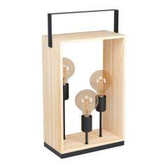 Famborough Lampa stołowa 3 płom. czarna/drewno naturalne EGLO 43416