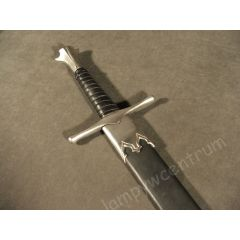 Miecz rycerski jednoręczny kuty hartowany XV w. z pochwą - replika