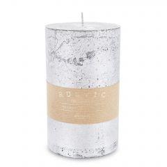 Pl Srebrny Świeca Rustic Metalic Walec Duży 143627