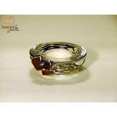 Świecznik tealight szkło bursztyn OKRĄGŁY miseczka