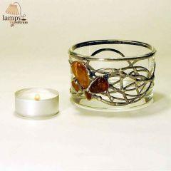 Świecznik tealight szkło bursztyn OKRĄGŁY duży wysoki