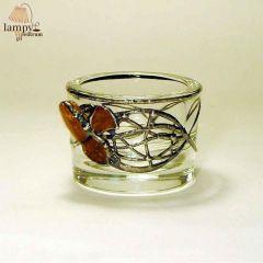 Świecznik tealight szkło bursztyn OKRĄGŁY max