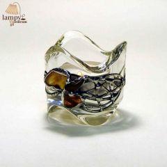 Świecznik tealight szkło bursztyn OKRĄGŁY wysoki II