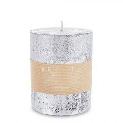 Pl Srebrny Świeca Rustic Metalic Walec Średni 143626