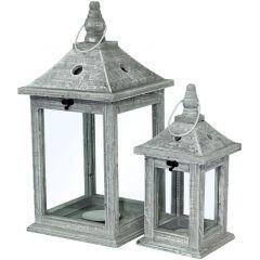 Lampion Drewniany Szary Komplet 2szt 94486 Art-Pol