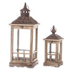 Lampion Drewniany Brązowy Komplet 2szt 74244 Art-Pol