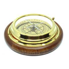 Duży kompas mosiężny na drewnianej podstawie N2863