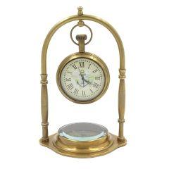 Marynistyczny zegar mosiężny z kompasem na zawiesiu  NC1880