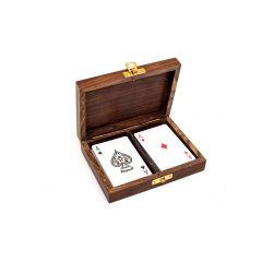 2 talie kart w pudełku z palisandru GMS-0137 - zdobiony top pudełka