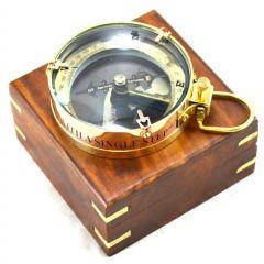 Kompas mosiężny - map reader w pudełku drewnianym NC1087