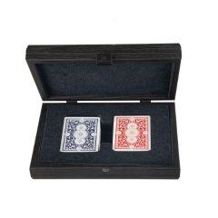Ekskluzywne karty do gry w drewnianym pudle pokrytym materiałem skóropodobnym  CDE10
