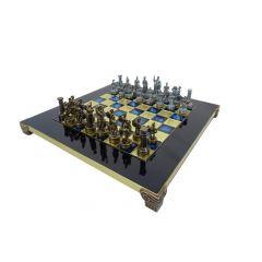 Ekskluzywne szachy mosiężne - okres grecko-rzymski S3BBLU 28x28cm