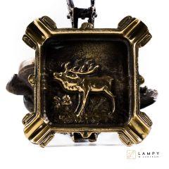 Popielniczka kwadratowa z jeleniem - Mosiądz