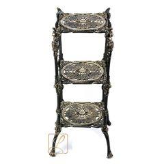 Stolik kwadratowy wysoki 3 blaty mosiądz