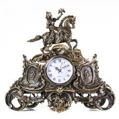 Duży zegar kominkowy z myśliwym Mosiądz nr. 120