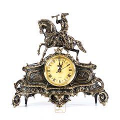 Zegar z trębaczem na koniu mały Mosiądz nr. 119