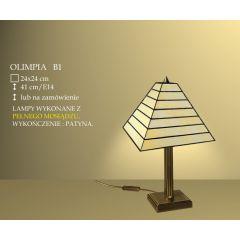 Lampa stołowa 1 płom. Olimpia klosz witrażowy 24cm beżowo B1 ICARO