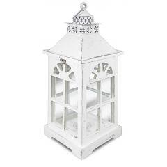 Lampion Drewniany Biały 81626 Art-Pol
