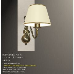 Lampa kinkiet 1 płom. Belvedere AB różne abażury K1 K1M ICARO