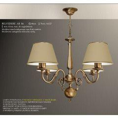 Lampa żyrandol 4 płom. Belvedere AB różne abażury S4L S4LM ICARO