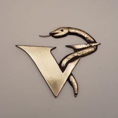 Eskulap weterynaria veterinary logo płaskorzeźba Mosiądz