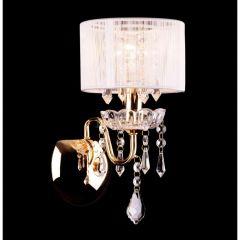 IZABEL Lampa kinkiet z abażurem 1 płom. złota/biała EUROSTAR 2045/1 GD/WT